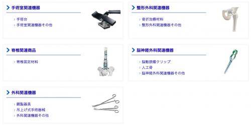 ミズホ株式会社(医療機器)の主要製品