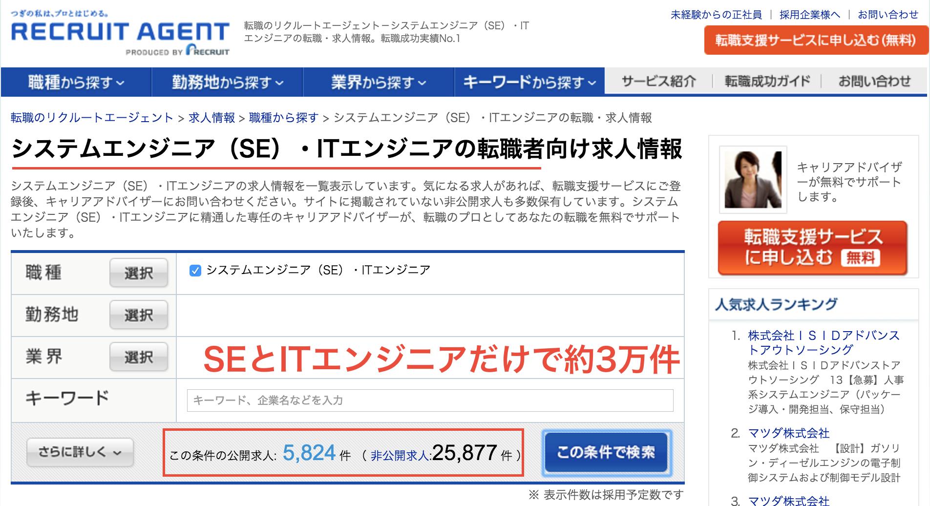 リクルートエージェント求人数(SE、ITエンジニア)