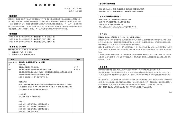 履歴書サンプル - JIS規格・A4などタイプ別の見本